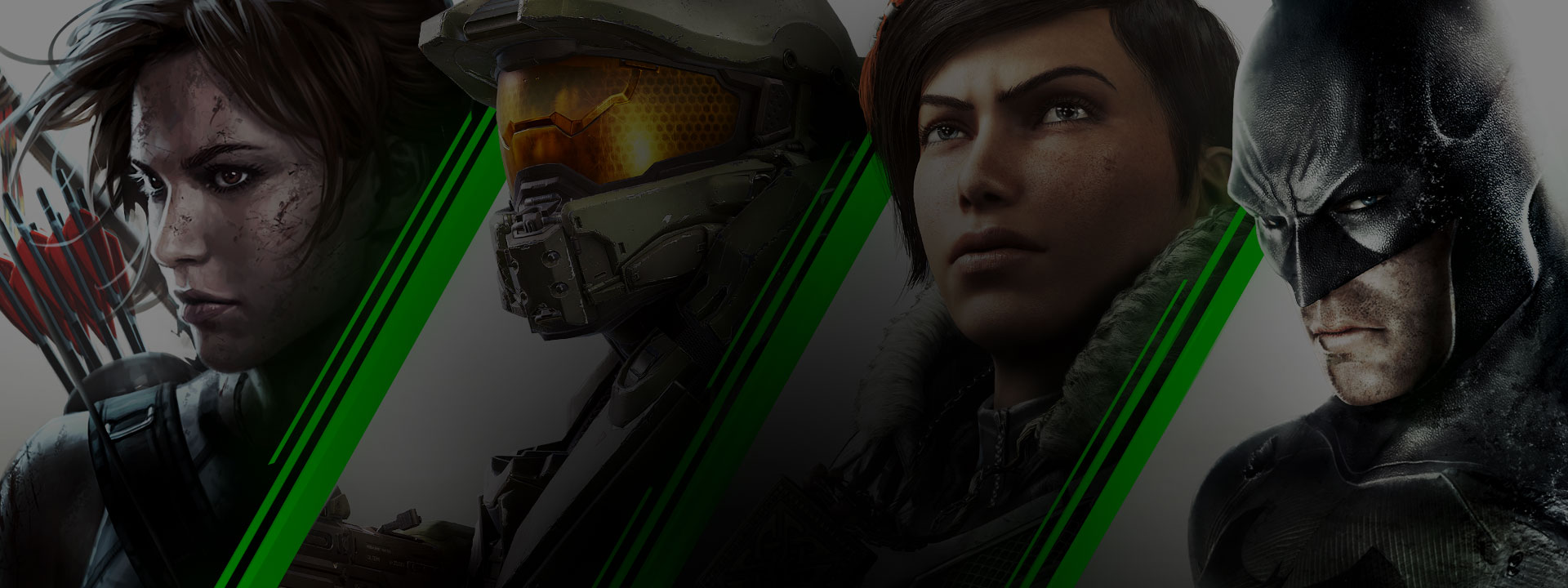 Een collage van personages uit Xbox One-games. Lara Croft, Master Chief, Kait Diaz en Batman.
