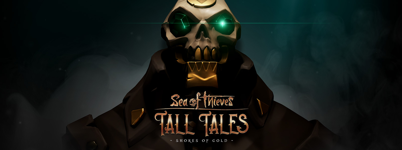 Logotipo de Sea of Thieves Shores of Gold sobre un pirata esqueleto con dientes de oro y ojos esmeralda
