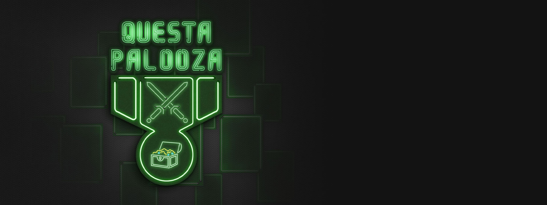 Questapalooza, green neon sign with a two swords crossed and an open treasure chest
