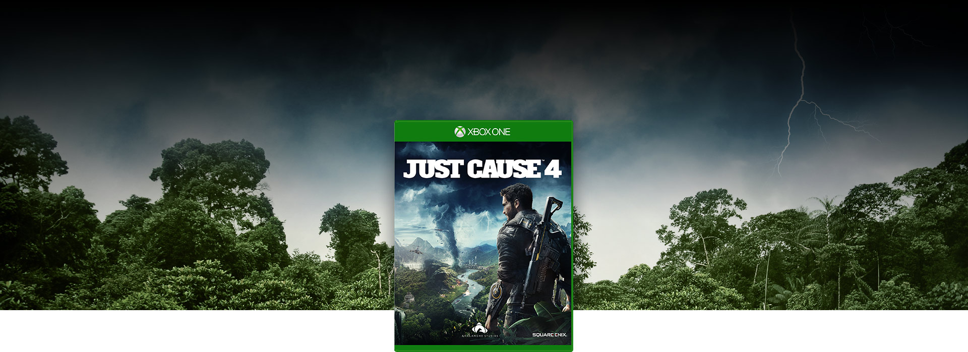 Just Cause 4 box shot, Background of a forest with lightning and dark clouds above