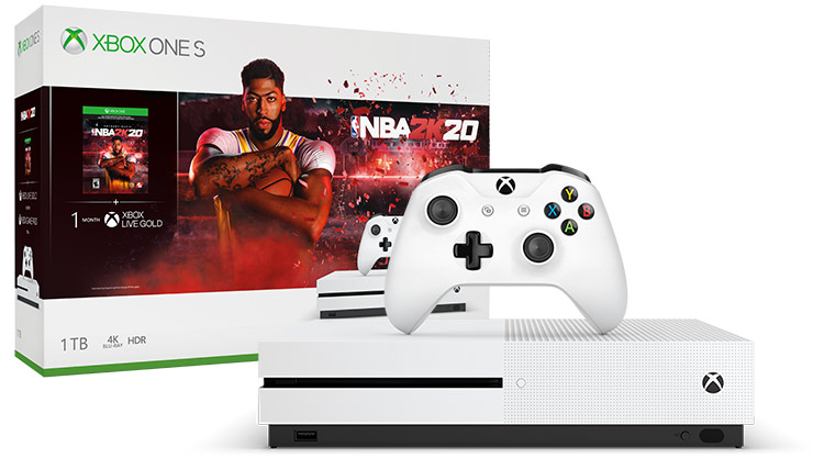 An Xbox One S console and controller are displayed in front of an NBA 2K20 console bundle box.