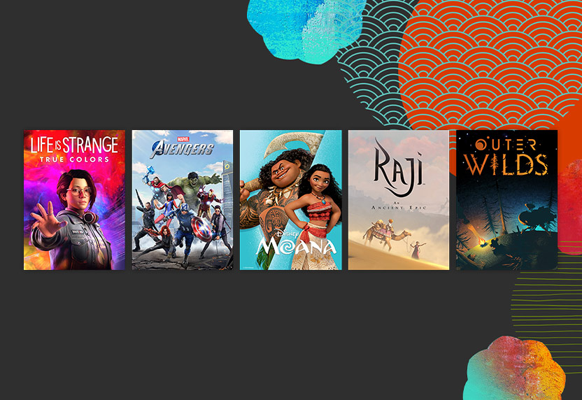 Movies and games recommended by Asian and Pacific Islander community members, including Moana, Life is Strange True Colors, and Outer Wilds.