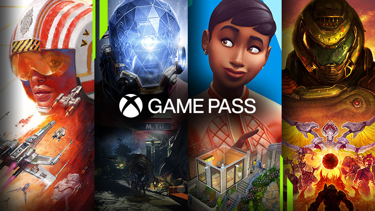 Una selección de juegos disponibles con Xbox Game Pass para PC, incluidos Star Wars: Squadrons, Prey, Los Sims 4 y Doom Eternal.