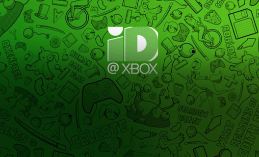 The ID@XBOX logo over a green background of sketched game titles and gaming-related iconography.