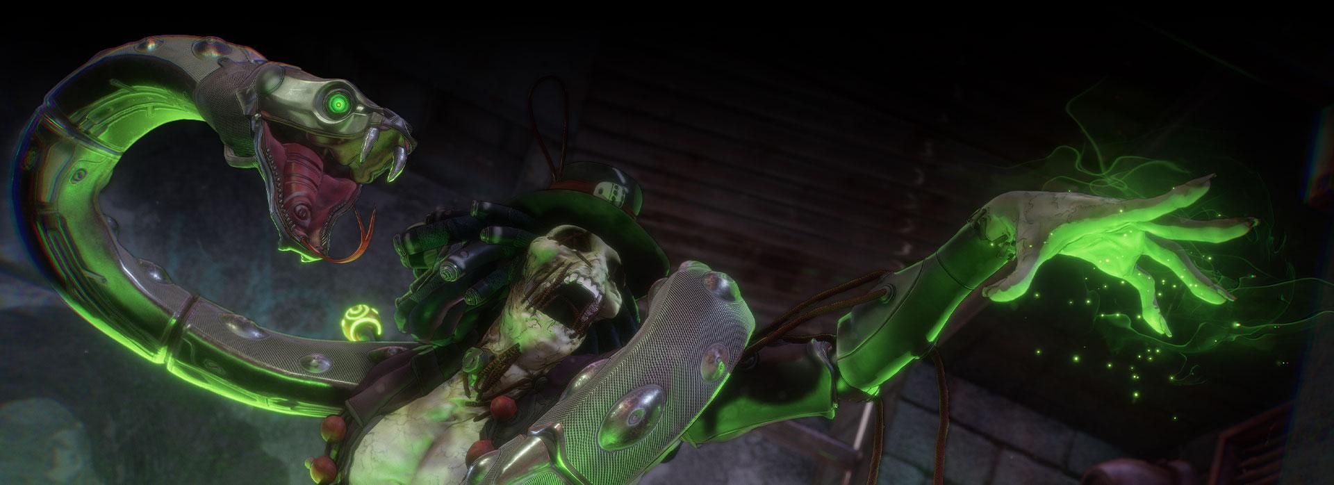 Kulev, Bleeding Edge'te omzunda bir yılanla yeşil bir ışık çıkarıyor.