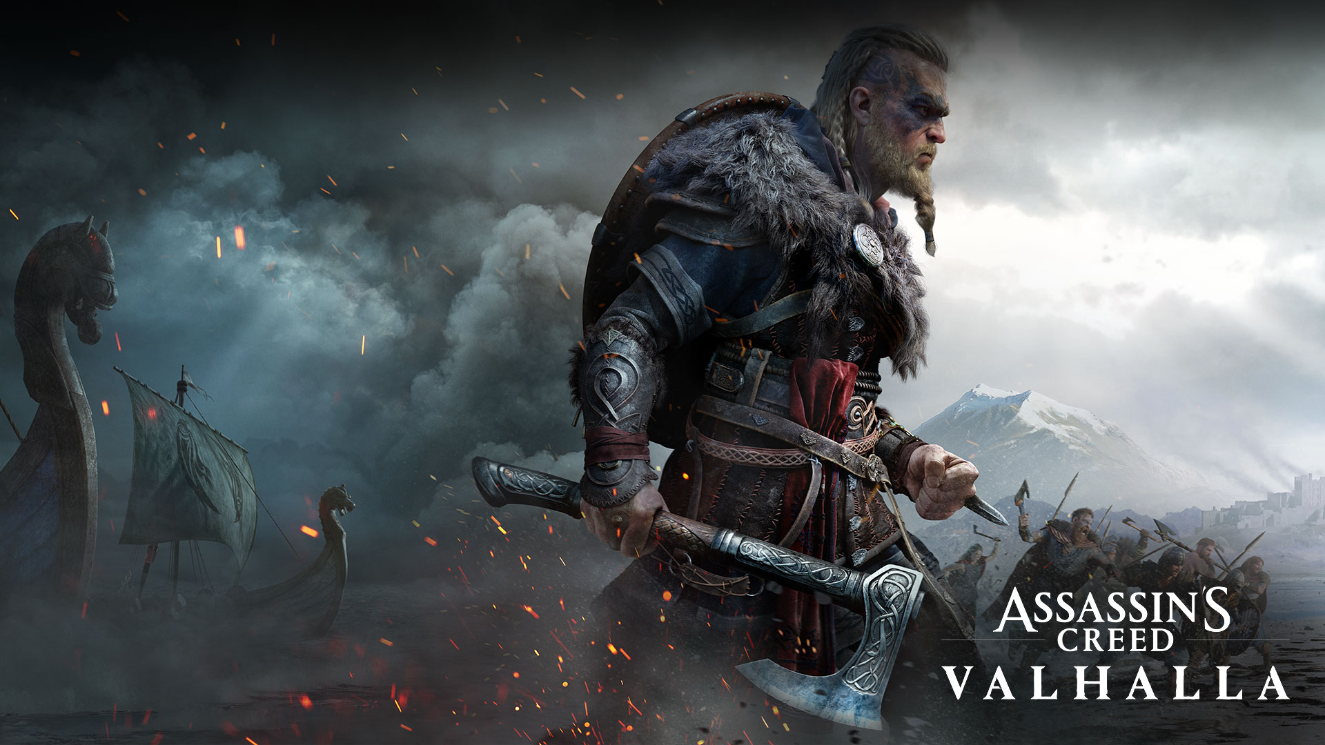 Assassin's Creed Valhalla, character with an axe, ships in the fog, and a battle