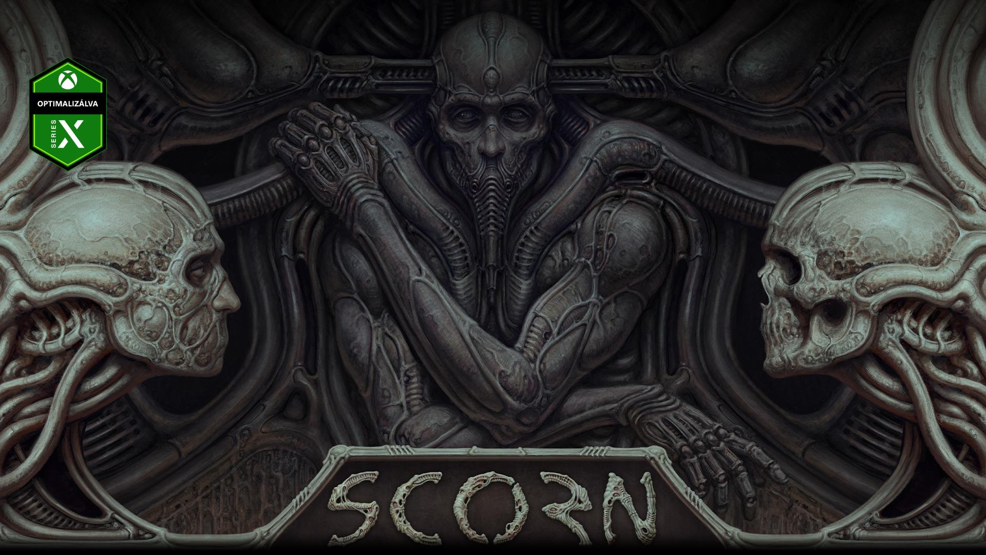 A Scorn egy falba épített karaktere két koponyával.