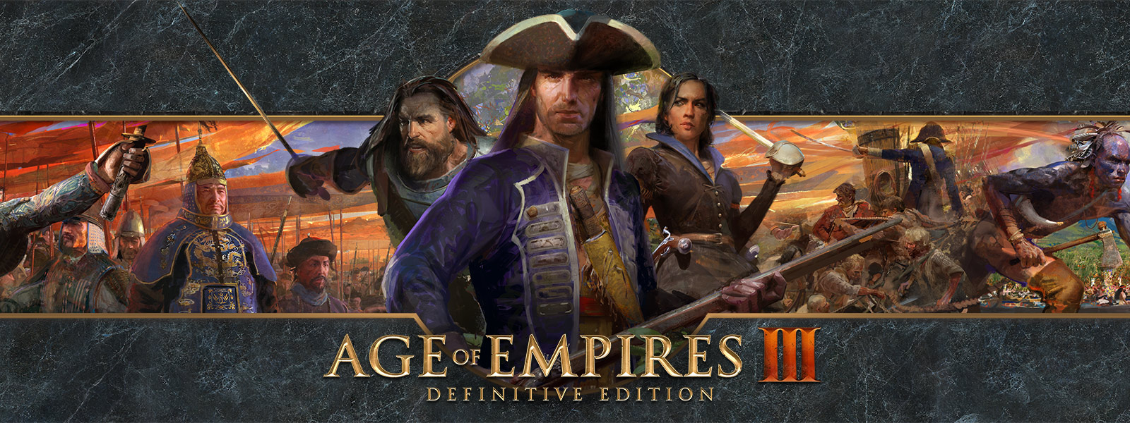 Age of EmpiresIII: Definitive Edition-Logo vor einem Hintergrund mit Kriegsführern und ihren Armeen