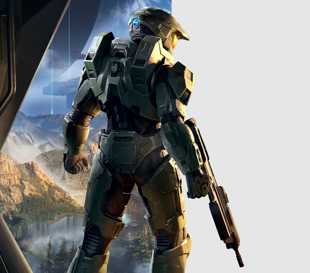 Halo Infinite, Master Chief looks from his ship to the land below