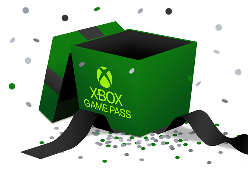 A green box labelled Xbox Game Pass surrounded by confetti