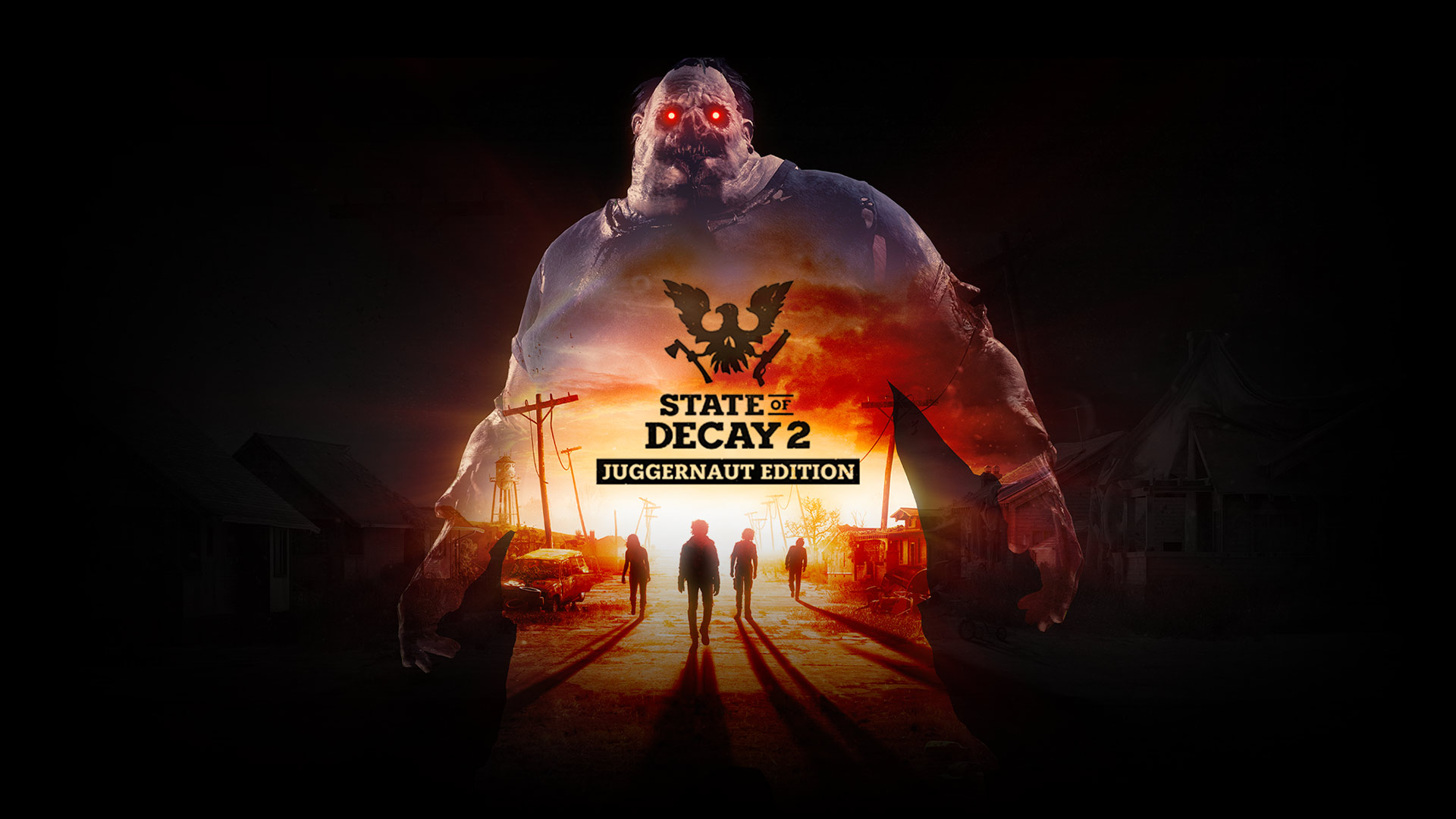 State of Decay 2: Juggernaut Edition, silhouette of the Juggernaut with zombies on an abandoned street