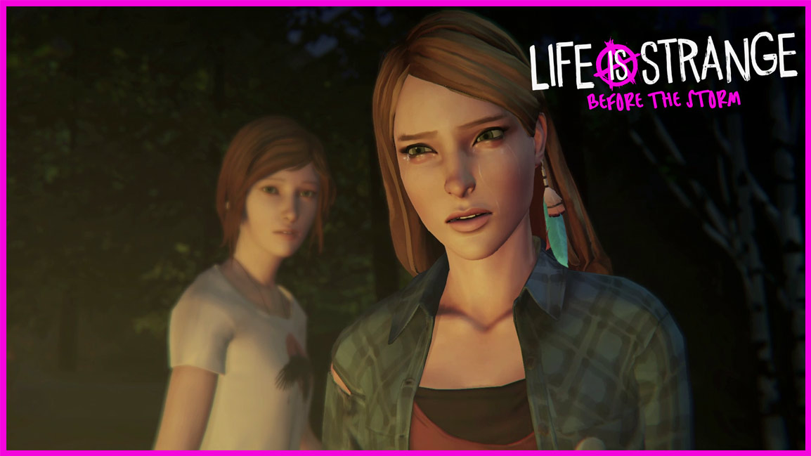 Life is Strange: Before the Storm, Front view of Rachel Amber crying with Chloe standing behind