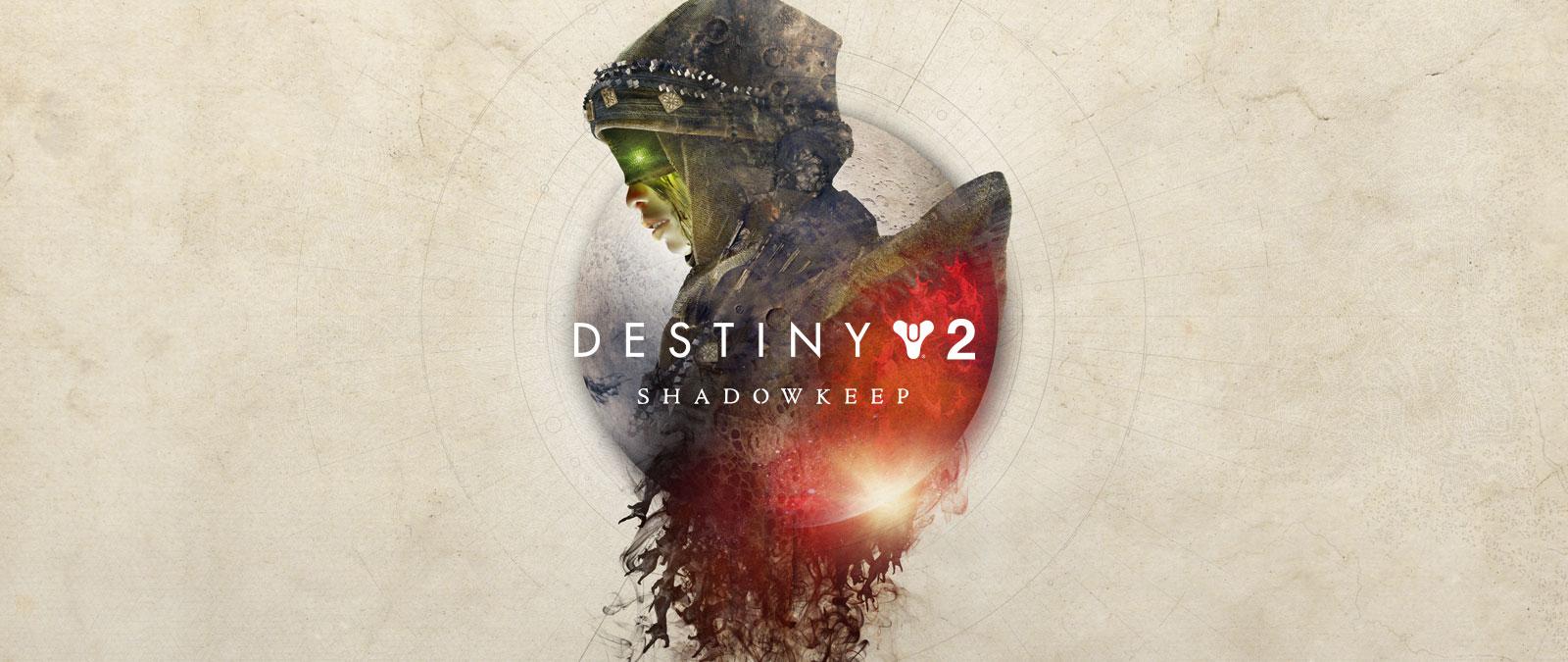 Destiny 2 Shadowkeep, Eris Morns överkropp sedd från sidan och den nedre halvan av månen