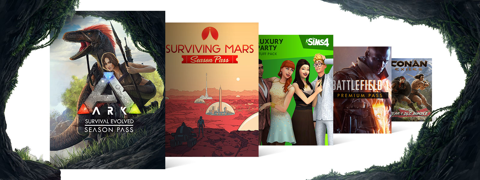 Collage of DLC for Xbox One games on sale, including ARK Survival Evolved Season Pass, Surviving Mars Season Pass, and Battlefield 1 Premium Pass