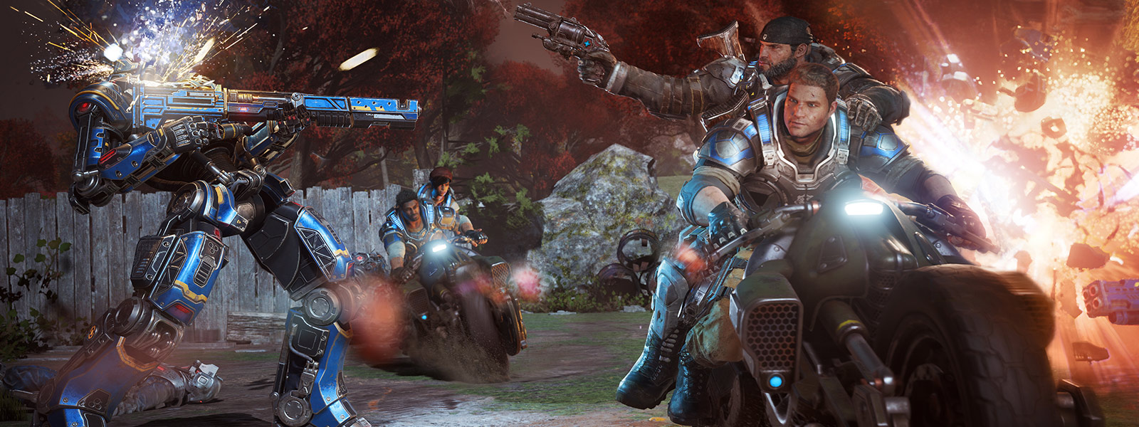 JD Fenix and his friends fire weapons and ride motorcycles during a battle from the game Gears of War 4