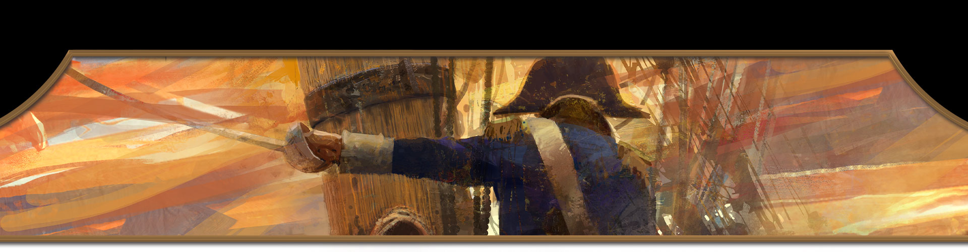 Un pirata con una spada nella mano sinistra