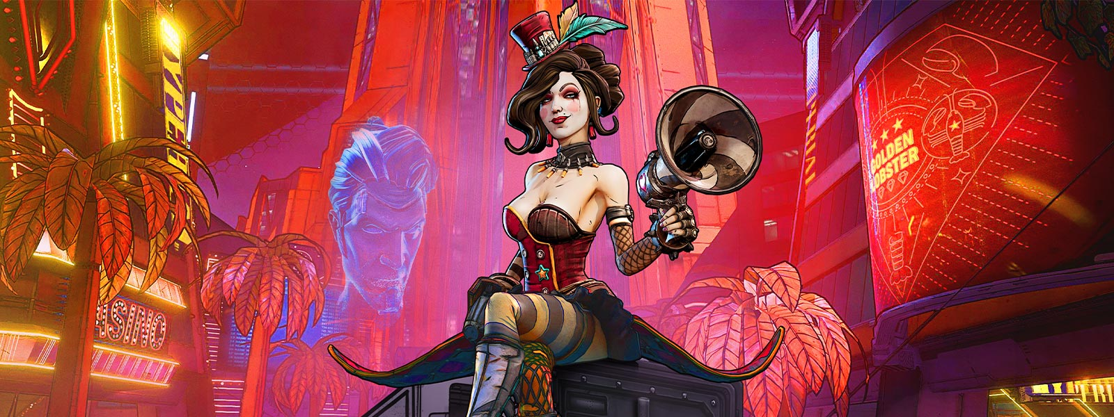 Moxxi sits atop a crate with a megaphone, neon casino buildings in background