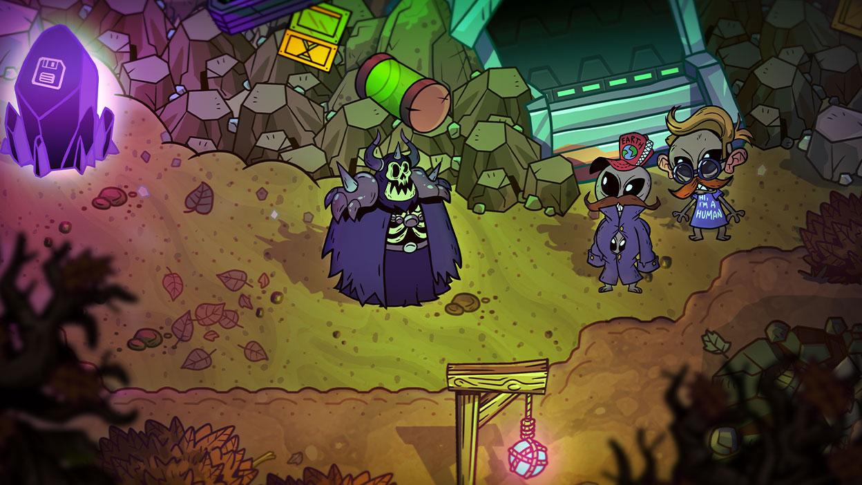 Twee aliens in menselijke kleding praten met een skeletheer.