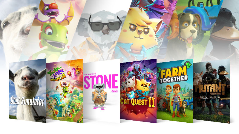 Wide World of Animals games on sale include, Goat Simulator, Yooka-Laylee and the Impossible Lair, STONE, Cat Quest II