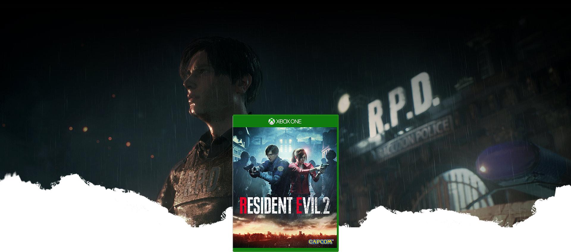 Imagen de la caja de Resident Evil 2, Leon Kennedy, parado en la lluvia, junto a la comisaría de Raccoon City