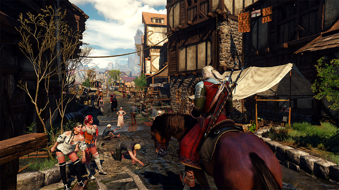 Geralt travelling through a city centre on a horse