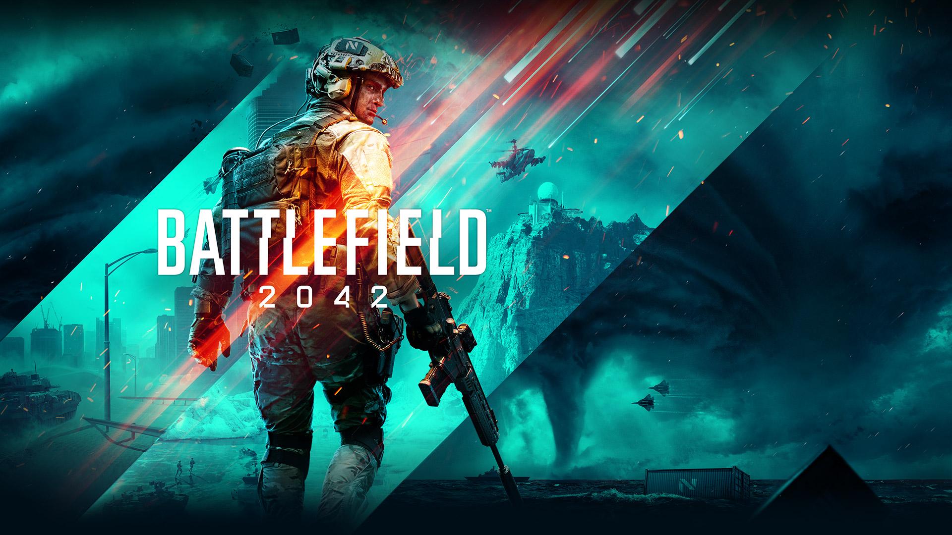 Battlefield 2042, Een soldaat kijkt over zijn schouder met een collage van verschillende oorlogsomgevingen op de achtergrond.