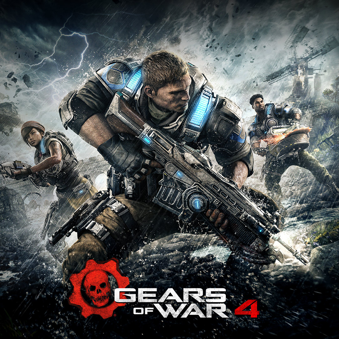 Gears of War 4: JD, Del and Kait fighting off a horde in the middle of a brutal lightning storm