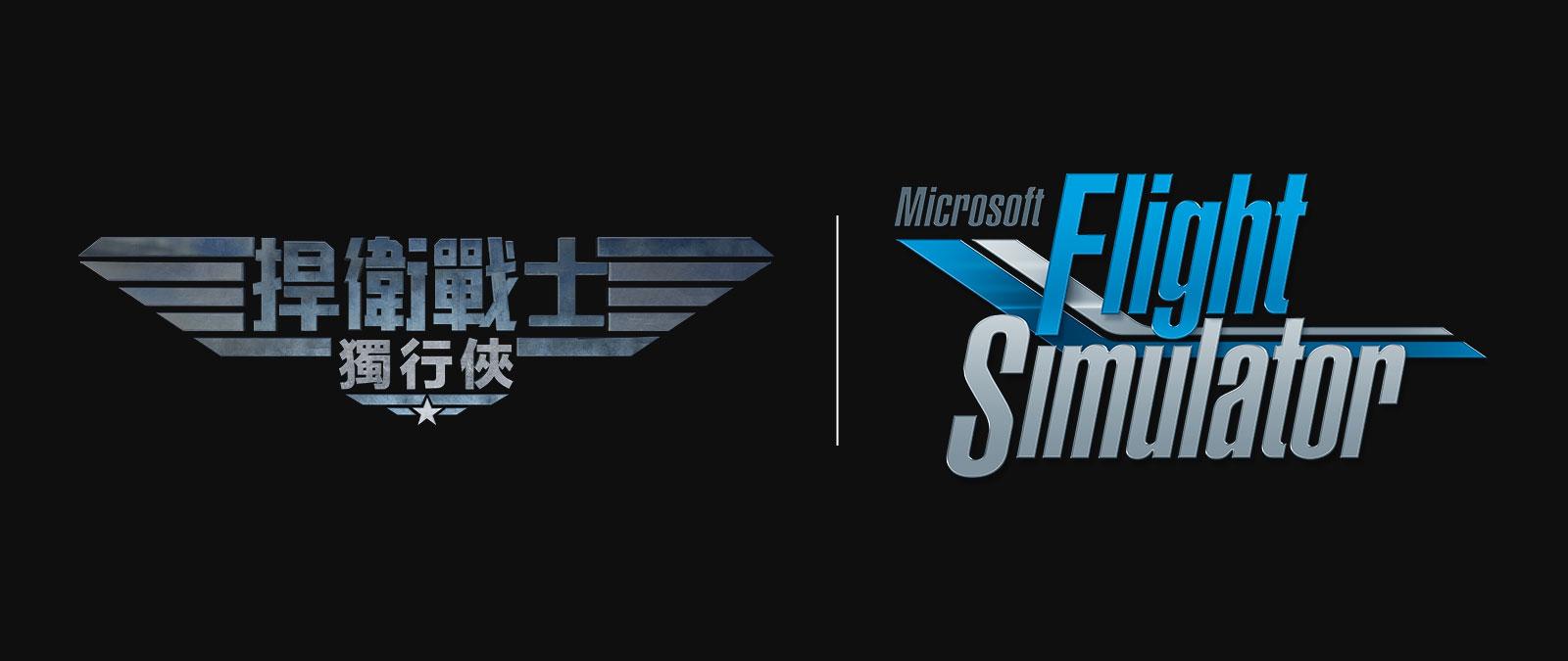 Microsoft Flight Simulator 標誌和 Top Gun 標誌