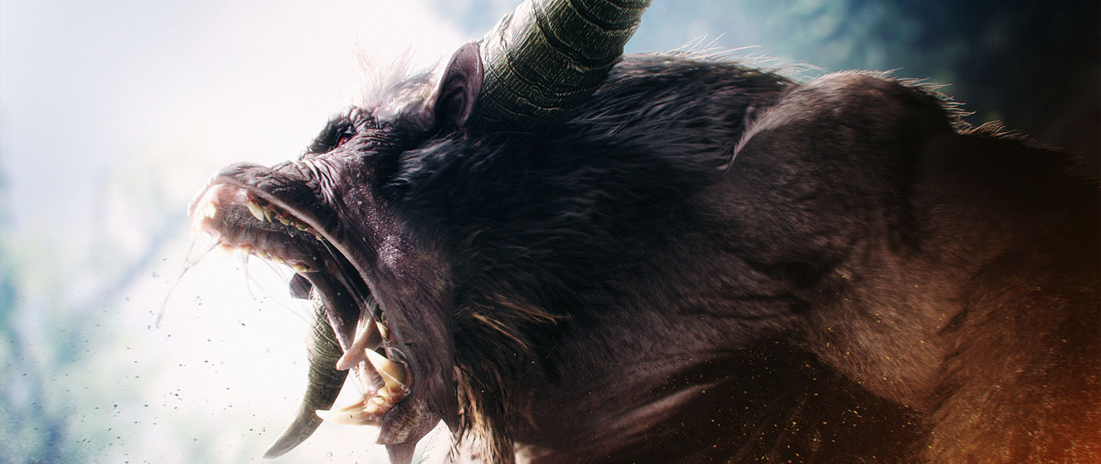 Rajang monster screams with teeth bared and spit flying