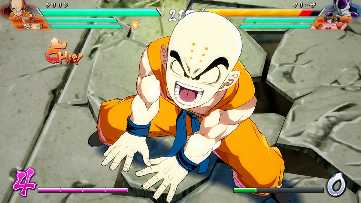 Furious Krillin prepares to charge attack
