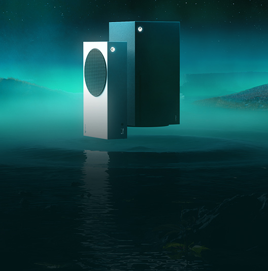 An Xbox Series X and Xbox Series S hover above an ethereal body of water with a ripple radiating outward beneath the consoles