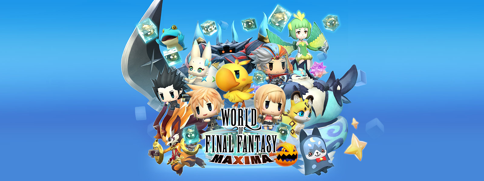 Characters from WORLD OF FINAL FANTASY MAXIMA jumping out from the center of the screen