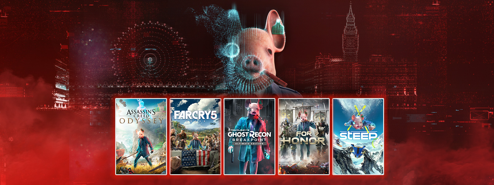 A collection of games that are part of the Watch Dogs: Legion Hack sale, including Assassin's Creed Odyssey, Far Cry 5 and Steep.