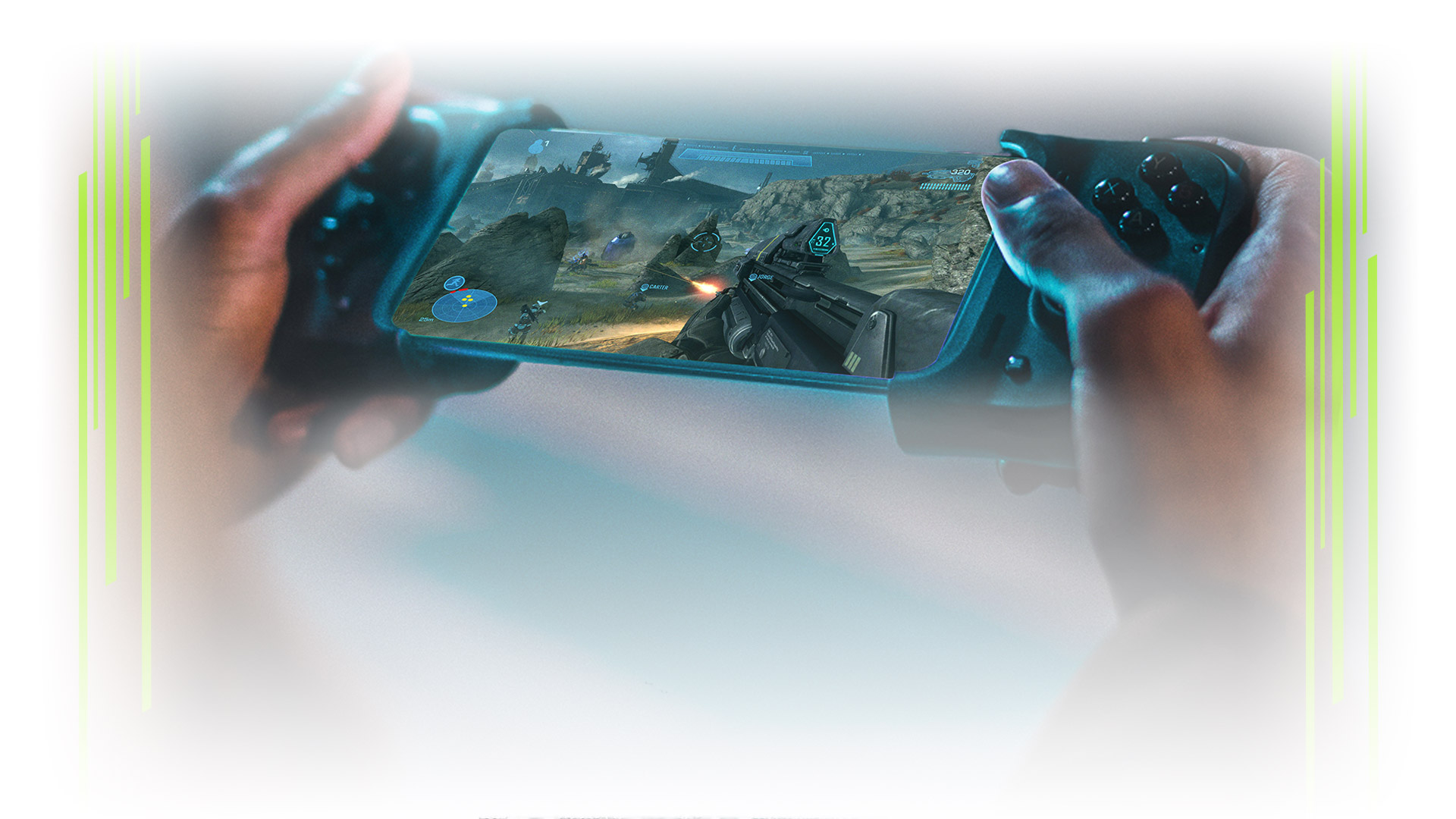 A Razer Kishi controller attached to a mobile phone showing Halo: Reach gameplay