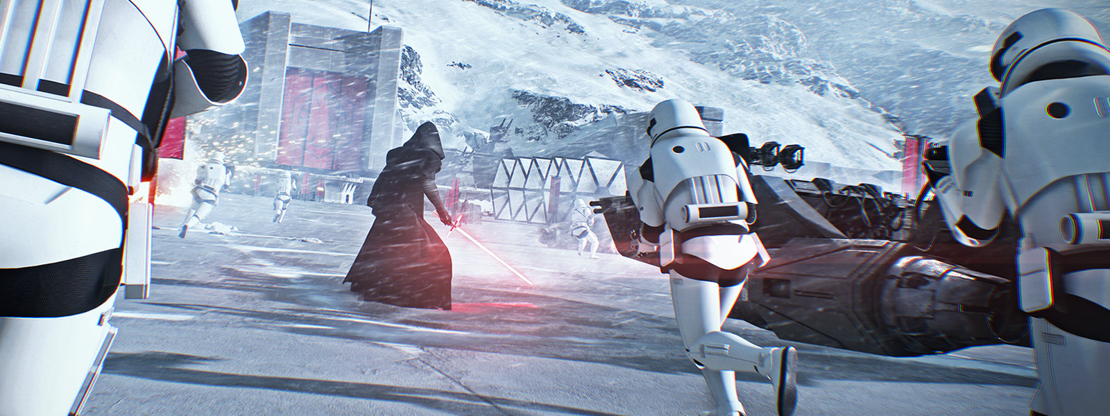 Kylo Ren with a Stormtrooper army storm a base in a snow storm