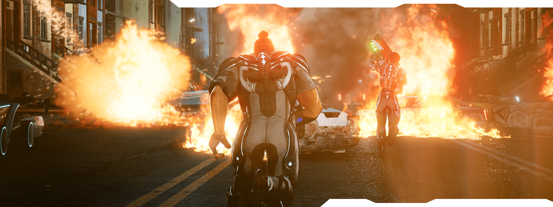 Characters running through a neighbourhood street with burning vehicles