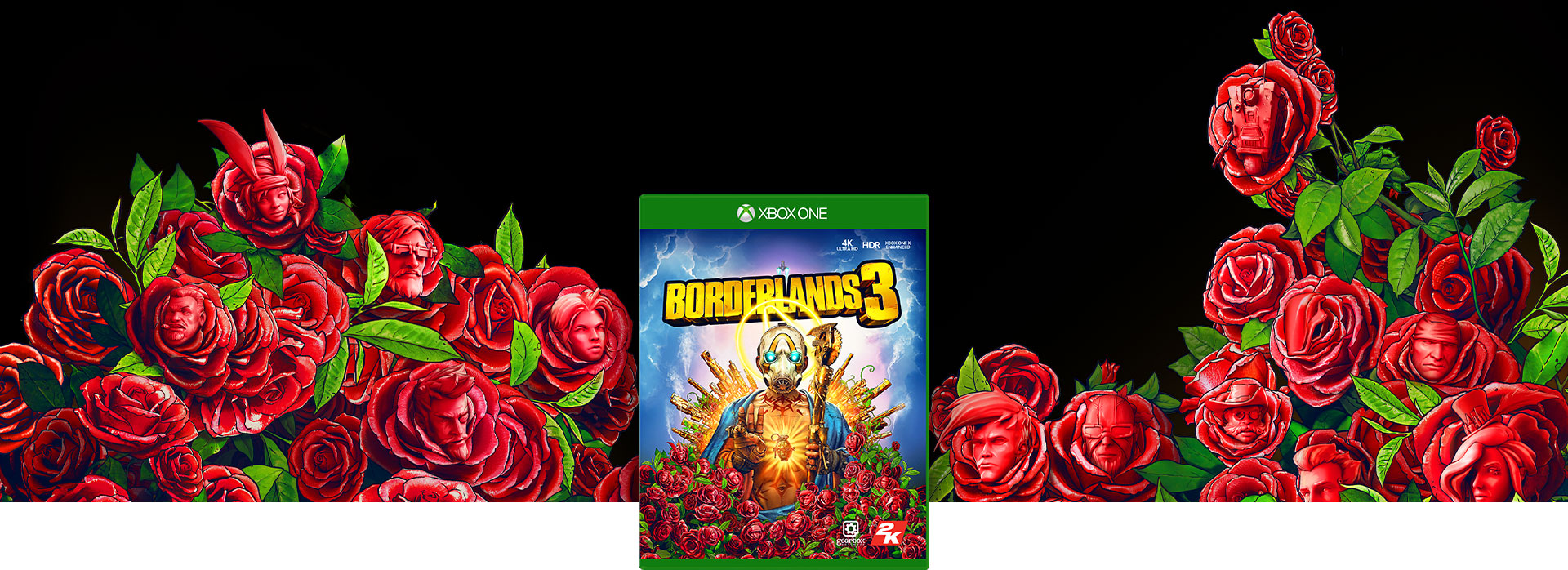 Borderlands 3 boxshot, background of roses with faces in them