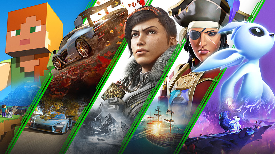 Un collage de juegos disponibles con Xbox Game Pass incluyendo Minecraft, Forza Horizon 4, Gears 5, Sea of Thieves, y Ori and the Will of the Wisps.