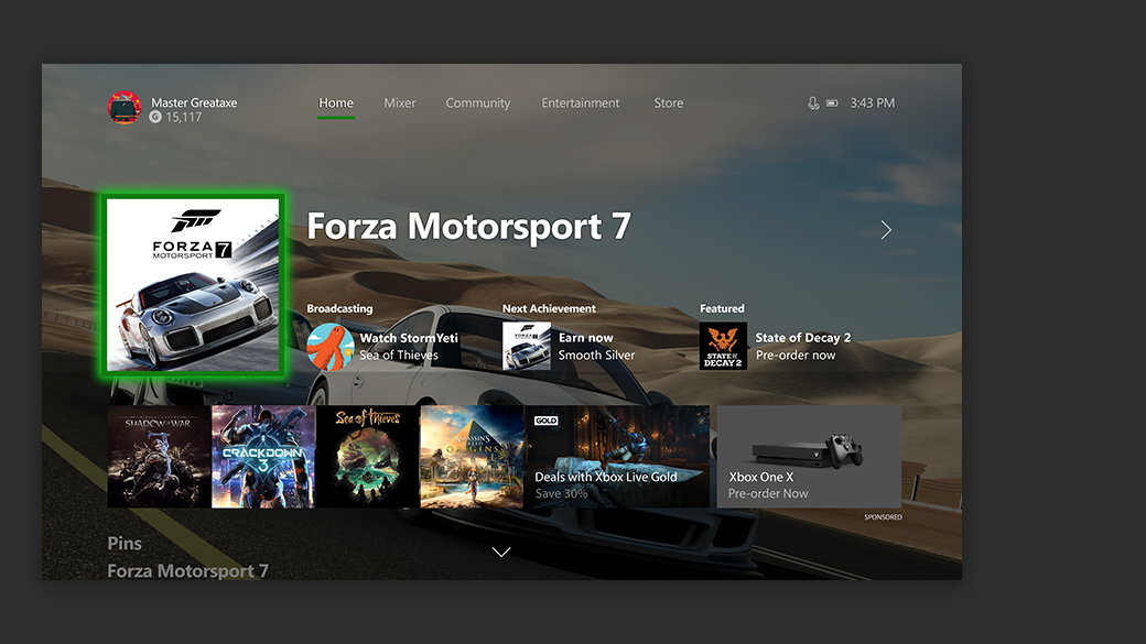 Screenshot of the new Xbox one home dash