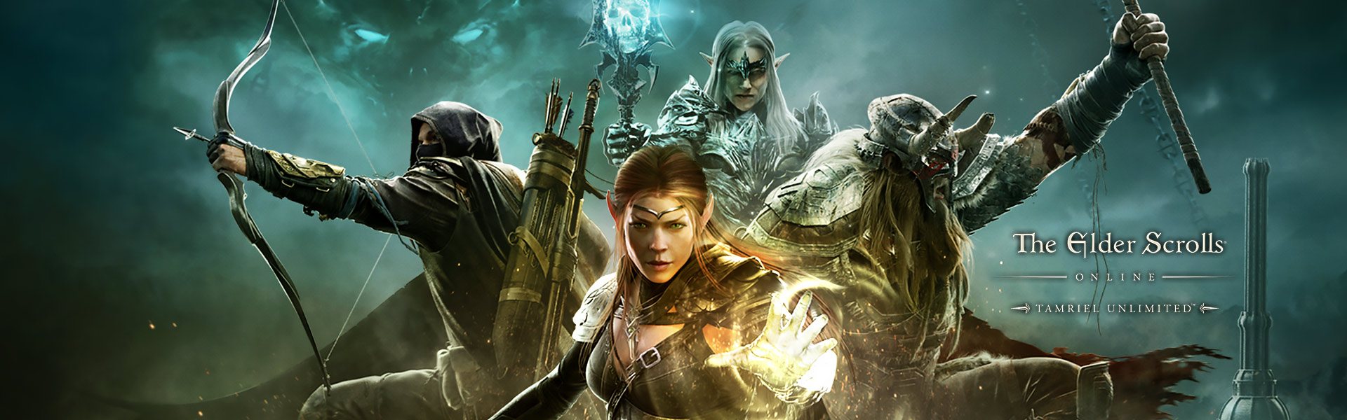 The Elder Scrolls Online Tamriel Unlimited, vier Charaktere in angriffsbereiter Position