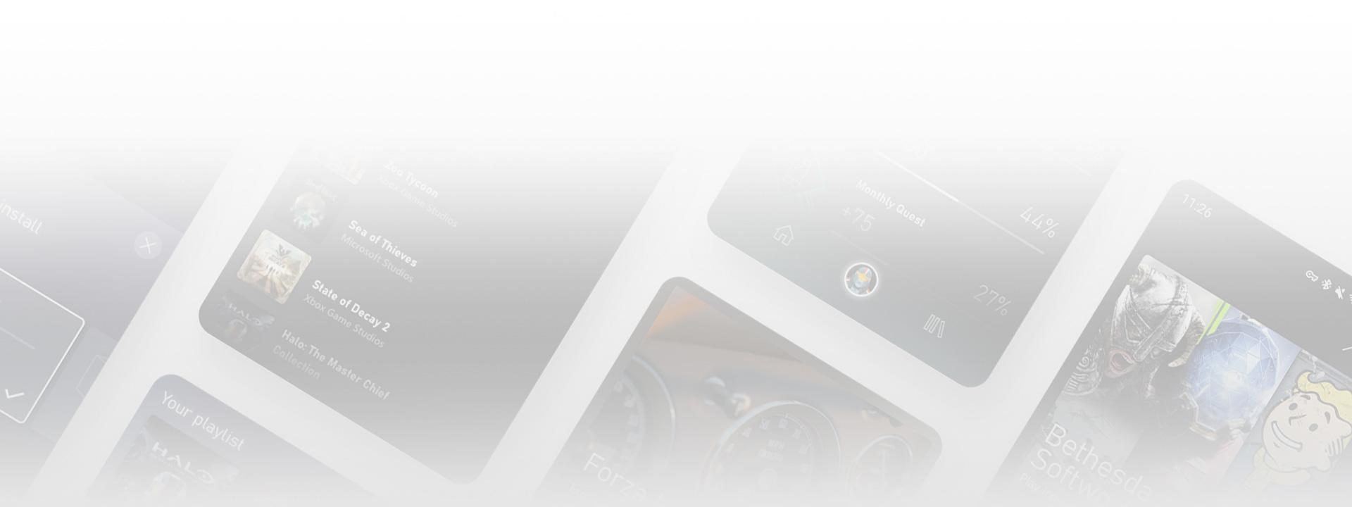 Skjermbilder av Xbox Game Pass-mobilappens brukergrensesnitt