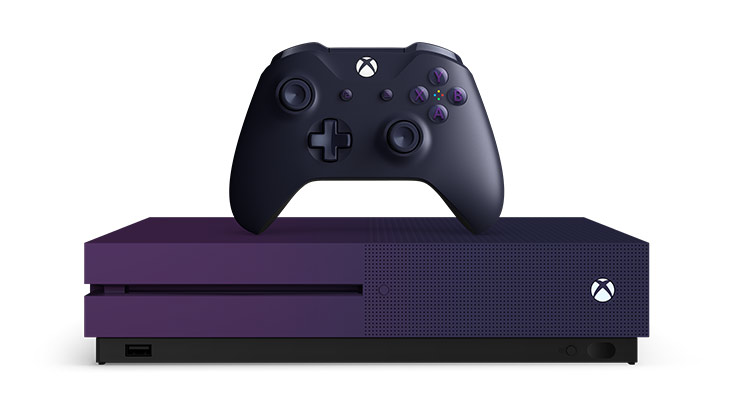 Front view of Gradient purple Xbox One S console and controller