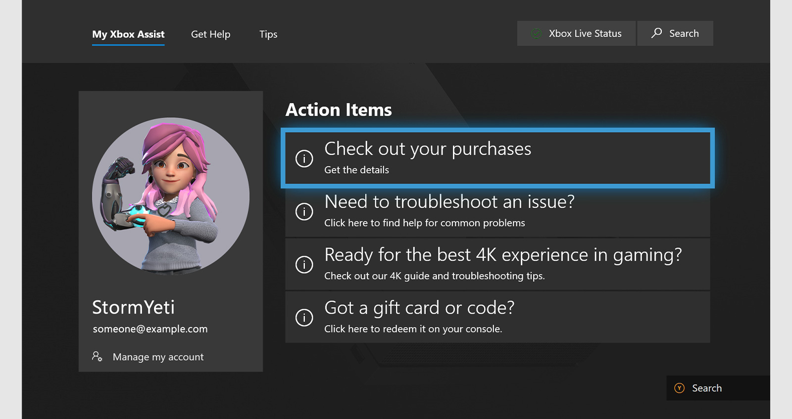 Screenshot showing an Xbox Assist support site