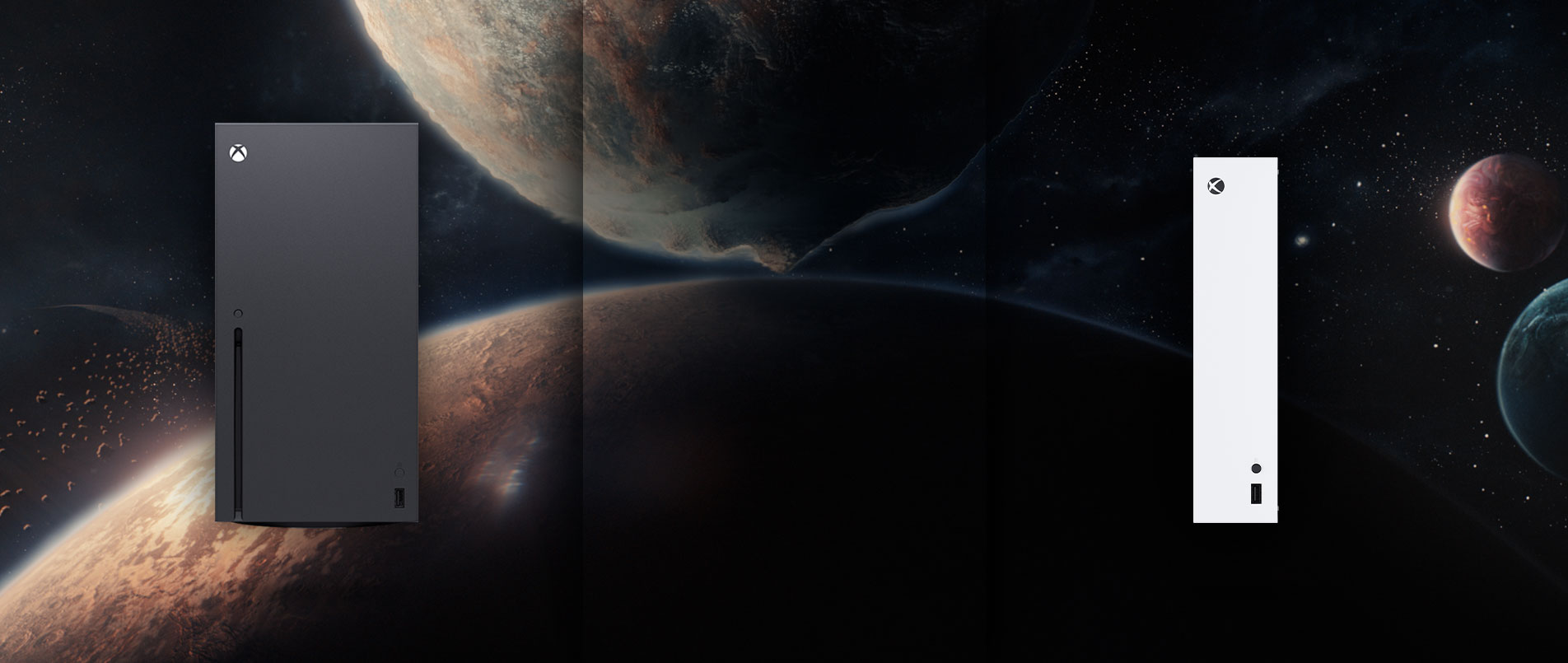 Xbox Series X and Xbox Series S consoles with two planets in the background