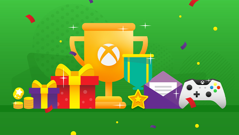 A trophy with an Xbox logo on it sits amongst gift wrapped boxes and smaller trophies.