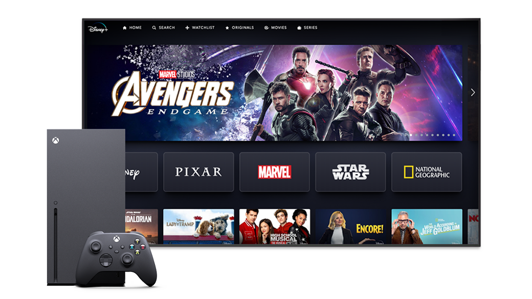 Disney+ home screen with an Xbox Series X
