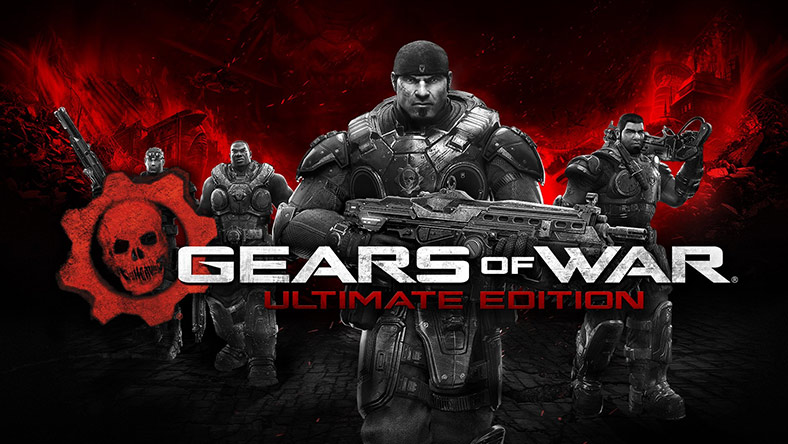 Gears of war characters posing behind the Gears of War Ultimate Edition logo