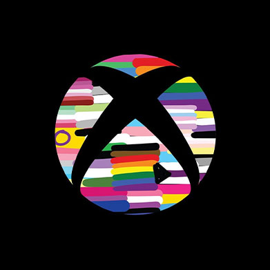 The Xbox logo decorated with simply drawn versions of various pride flags