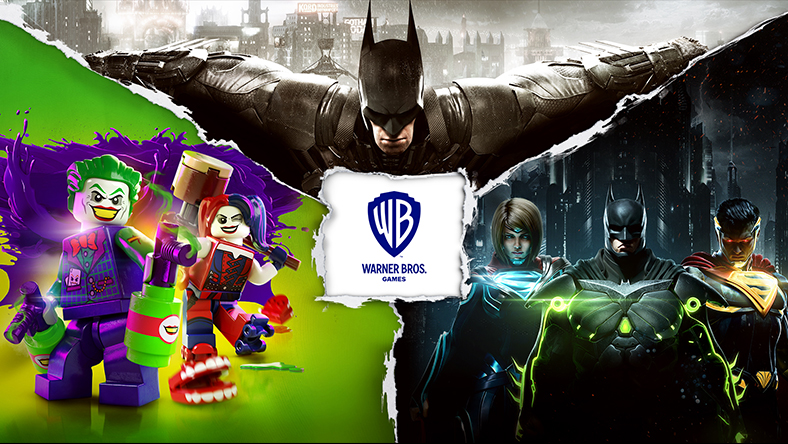 Characters from games that are part of the DC Franchise Sale, with a Warner Bros. logo.