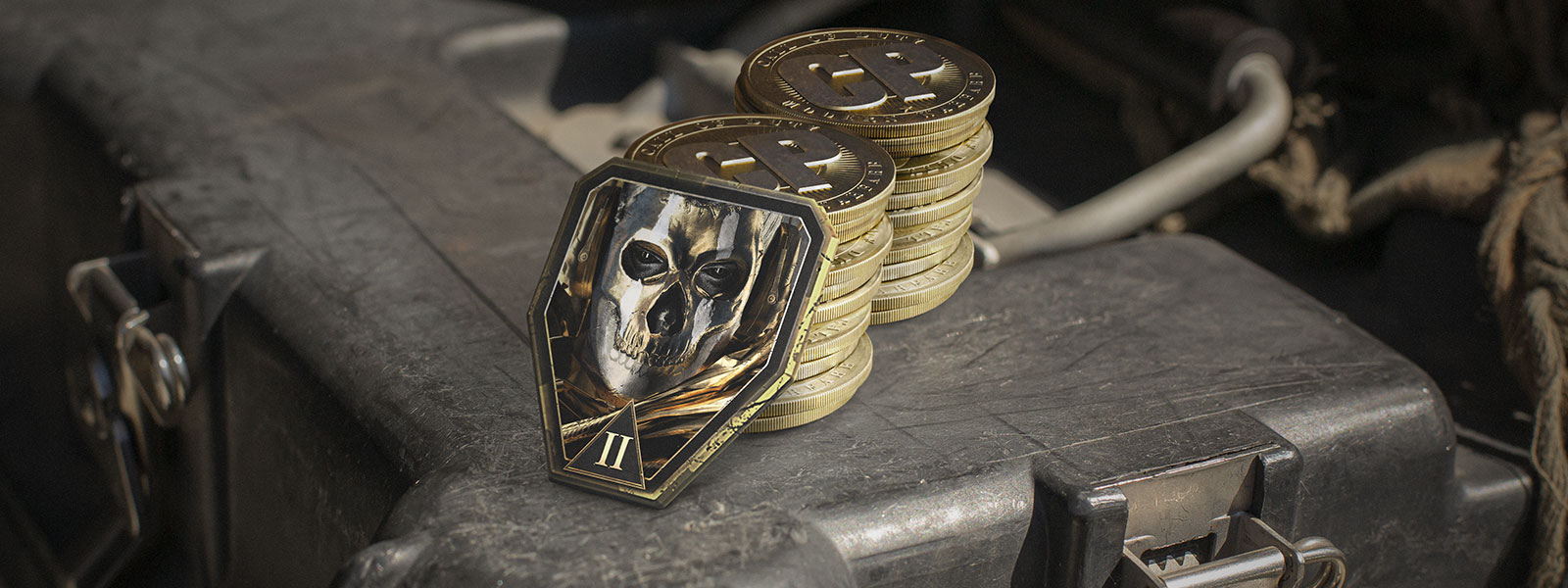 Stack of gold coins and a medal with the ghost mask from Call of Duty Modern: Warfare